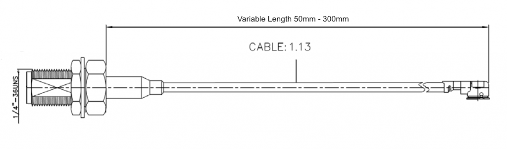 SMAF Bulhead to IPEX 1.13mm Coax Drawing
